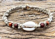 Hand Made Hemp Macrame Cowrie Shell Bracelet With Timbre & Bone Beads