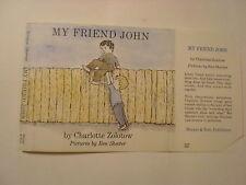 My Friend John, Charlotte Zolotow, Ben Shecter, Dust Jacket Only