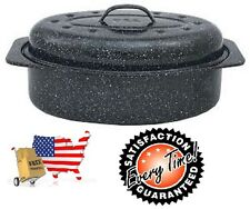 Granite Ware Covered Oval Roaster Roasting Pan Turkey Black 13 Inch Lid Gift New