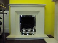 """FIREPLACE FIRE SURROUND IN WHITE BRUSHED LIMESTONE  44"""" CAT"""