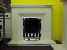 "FIREPLACE FIRE SURROUND IN WHITE BRUSHED LIMESTONE  44"" CAT"