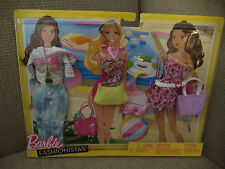BARBIE FASHIONISTAS FASHION POOL PARTY 3 OUTFITS AND ACCESSORIES *NEW*