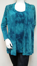 Impulse Teal Tie-dye 2 Piece Lace Back Cardigan Tank Twinset Top Sz S New NWT