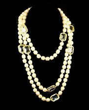 CHANEL France Simulated Baroque Pearl & Clear Chicklet Crystal Sautoir Necklace