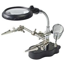 LED SOLDERING IRON STAND HELPING HANDS MAGNIFYING GLASS MAGNIFIER CROCODILE CLIP