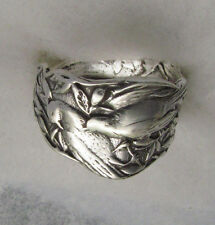 Sterling Silver Oxidized Spoon Adjustable Ring ,Vintage w/ Floral & Bird Design
