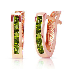 1 Carat 14K Solid Rose Gold Oval Huggie Earrings Peridot