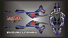SUZUKI LTR 450 QUADRACER  SEMI CUSTOM GRAPHICS KIT BLUEOUT