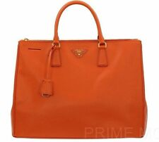 NEW PRADA LUXURY PAPAYA ORANGE SAFFIANO LEATHER HANDBAG TOTE BAG LARGE BN1802