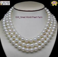 GW Noblest Triple Strand AAA+ 7-8MM White Pearl Necklace 100% 14K Gold Clasp