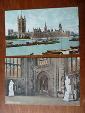 Lot84c 2x LONDON Houses of PARLIAMENT & Central Hall Westminster Postcard c1907