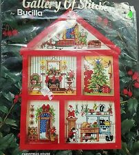 Bucilla Christmas House Cross Stitch Kit Incomplete