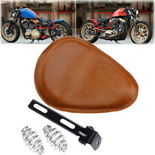 """Leather Motorcycle 3"""" Spring SOLO Bracket Skull Seat Brown For Bobber Chopper"""