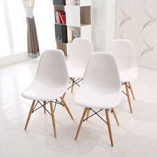4X White Eames Eiffel style Wooden DSW Dining Chair wood Retro Panton Designer