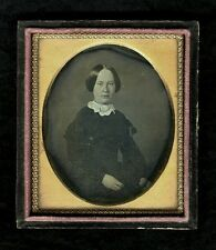 Daguerreotype Portrait Young Woman Lace Collar 1840s 6th Plate Cased Image