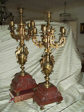 "Heavy Antique Brass Red Marble Candleabra Holders Pair Tuscan Style ""Old World"""
