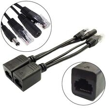 1 Pair Power Over Ethernet Passive PoE Adapter Injector + Splitter Kit PoE Cable