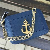 Juicy Couture Phone Wristlet Leni Charm Leather Bag in Blue NWT RN52002