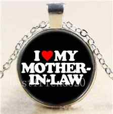 I LOVE MY MOTHER-IN-LAW Cabochon Glass Tibet Silver Chain Pendant  Necklace