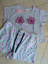 Peter Alexander Hibiscus PJ set Grey Marle Crop Top L (14) & Mini Short XL (16)