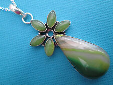 925 Sterling Silver Pendant With Natural Green Lace Onyx And Agate (nk1283)