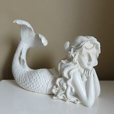 Mermaid Resting Figurine Garden Yard Home Statue New Resin White Mermaids New