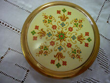 Vintage 60's Mascot Gold Tone & Enamel Flower Clock Metal Powder/Mirror Compact