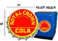 "12""  RC ROYAL CROWN COLA BOTTLE CAP DECAL COOLERS SODA POP MACHINE STYLE 2"