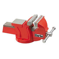 """CLARKE CV4RB METALWORK FIXED BENCH VICE 4"""" 100mm RED"""