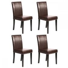 Set of 4 Brown Leather Contemporary Elegant Design Dining Chairs Home Room 2XU42