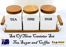 SET OF 3 CANISTER SET TEA COFFEE AND SUGAR WHITE WOODEN STAND AND LID HW-182