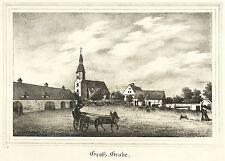 GROßGRABE / GROSSGRABE (BERNSDORF) - Rittergut & Kirche - Lithografie 1840