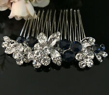 Silver tone elegant wedding blue color crystal  bridal hair comb ha27425blue