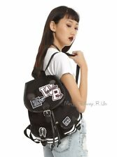 New CW Supernatural Varsity Patch & Pin Canvas Slouch Buckle Backpack Book Bag
