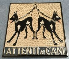 Vietri pottery-Attenti ai Cani 6x6 inch wall tile.Made/painted by hand in Italy