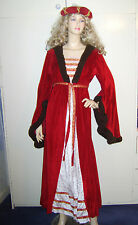 Ladies Tudor Medieval Renaissance Maid Marion Red Fancy Dress Costume 10-14 USED