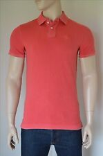 New abercrombie & fitch classic big icon polo shirt rouge délavé moose logo xxl