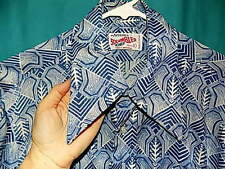 Exc! VINTAGE 70s DISCO SHIRT, SHORT SLV, ARROW SCRAMBLER, Men's Sz L