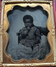 AFRICAN AMERICAN BLACK SLAVE CHILD HIDDEN MOTHER 1/9 CASE AMBROTYPE PHOTO #A63