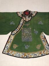 ANTIQUE 19th c QI'ING CHINESE COURT LADY DAMASK SILK EMBROIDERED ROBE EMBROIDERY