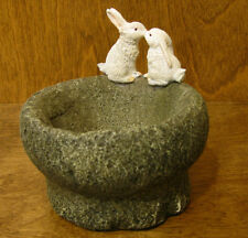 Top Land Coll. Enchanted Story Fairy Garden #4290 RABBITS KISSING on FLOWER POT