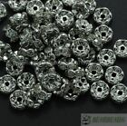 100 Czech Crystal Rhinestone Pewter Wavy Rondelle Spacer Beads 4mm 5mm 6mm 8mm