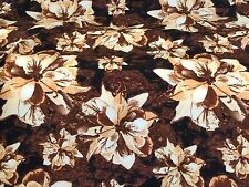 8.2 Metres Brown Large Petal Flowers, Floral Dress Fabric. (End Of Roll)