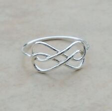 .925 Sterling Silver Infinity Double Wire Ring Size 8 Unisex Hallmark No Sto New