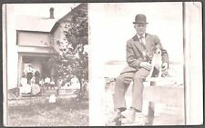 VINTAGE PHOTOGRAPH RPPC 1900'S MAN POSES RAT TERRIER ON FENCE OLD PHOTO POSTCARD
