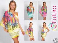 Ladies High Quality One Shoulder Mini Dress Batwing Party Tunic FC2758