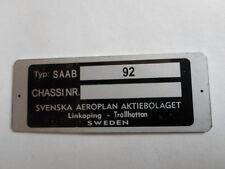 Typenschild  ID-plate Saab 92 9-2 9 2 Chassi Nr.Schild S2