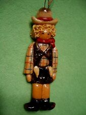 Vintage SALT DOUGH figurine of a COWGIRL COW GIRL in vivid colors.2 ways to hang