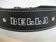 LEATHER STAFFY DOG COLLAR WITH PERSONAL NAME HIGHLIGHTED