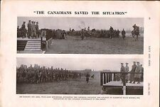 1915 WWI ~ CANADIAN TROOPS SALISBURY BEFORE LEAVING FOR FRONT REVIEW KING GEORGE